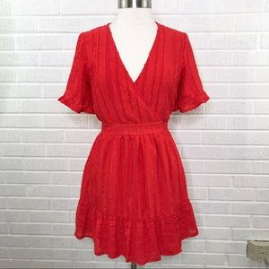 Polly Red Ruffled Textured Wrap Dress Size 10